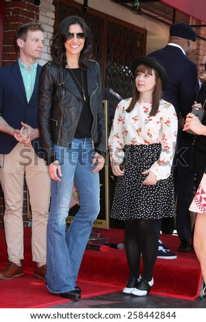 LOS ANGELES - MAR 5:  Daniela Ruah, Renee Felice Smith at the Chris O'Donnell Hollywood Walk of Fame Star Ceremony at the Hollywood Blvd on March 5, 2015 in Los Angeles, CA - stock photo