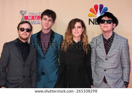 LOS ANGELES - MAR 29:  Echosmith at the 2015 iHeartRadio Music Awards at the Shrine Auditorium on March 29, 2015 in Los Angeles, CA - stock photo
