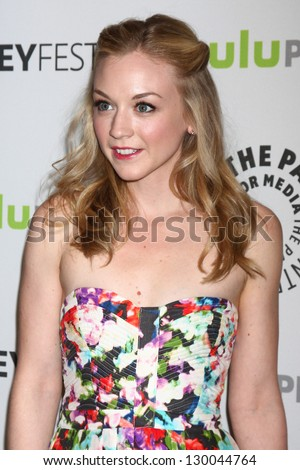 "LOS ANGELES - MAR 1:  Emily Kinney arrives at the  ""Walking Dead"" PaleyFEST Event at the Saban Theater on March 1, 2013 in Los Angeles, CA"