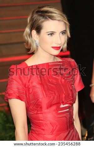 LOS ANGELES - MAR 2:  Emma Roberts at the 2014 Vanity Fair Oscar Party at the Sunset Boulevard on March 2, 2014 in West Hollywood, CA - stock photo