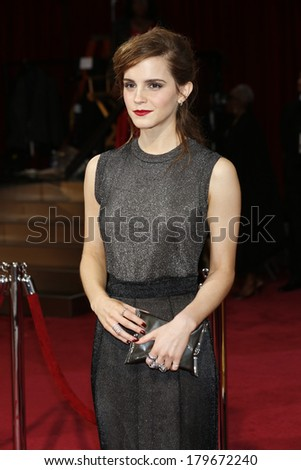 LOS ANGELES - MAR 2:  Emma Watson at the 86th Academy Awards at Dolby Theater, Hollywood & Highland on March 2, 2014 in Los Angeles, CA - stock photo