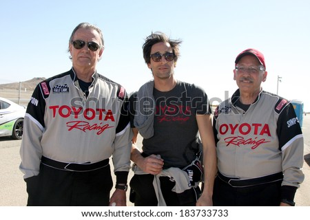LOS ANGELES - MAR 15:  Eric Braeden, Adrien Brody, Dr. William Pinskyat the Toyota Grand Prix of LB Pro-Celebrity Race Training at Willow Springs Speedway on March 15, 2014 in Rosamond, CA