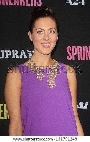 "LOS ANGELES - MAR 14:  Eva Amurri Martino arrives at the 'Spring Breakers"" Premiere at the Arclight, Hollywood on March 14, 2013 in Los Angeles, CA - stock photo"