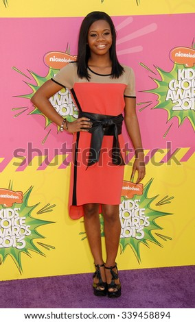LOS ANGELES - MAR 23 - Gabby Douglas arrives at the Nickelodeons 2013 Kids Choice Awards on March 23,  2013 in Los Angeles, CA              - stock photo