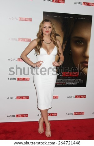 """LOS ANGELES - MAR 27:  Hunter King at the """"A Girl Like Her"""" Screening at the ArcLight Hollywood Theaters on March 27, 2015 in Los Angeles, CA - stock photo"""