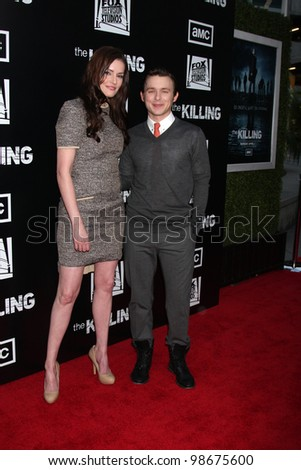 """LOS ANGELES - MAR 26:  Jamie Anne Allman, Marshall Allman arrives at  the AMC's """"The Killing"""" Season 2 Premiere at the ArcLight Theaters on March 26, 2012 in Los Angeles, CA - stock photo"""