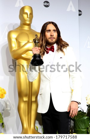 LOS ANGELES - MAR 2:  Jared Leto at the 86th Academy Awards at Dolby Theater, Hollywood & Highland on March 2, 2014 in Los Angeles, CA - stock photo