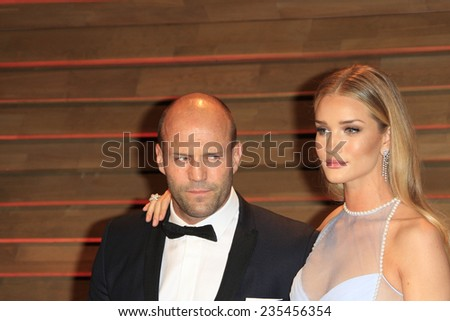 LOS ANGELES - MAR 2:  Jason Statham, Rosie Huntington-Whiteley at the 2014 Vanity Fair Oscar Party at the Sunset Boulevard on March 2, 2014 in West Hollywood, CA - stock photo