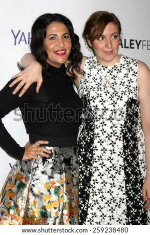 """LOS ANGELES - MAR 8:  Jenni Konner, Lena Dunham at the PaleyFEST LA 2015 - """"Girls"""" at the Dolby Theater on March 8, 2015 in Los Angeles, CA - stock photo"""