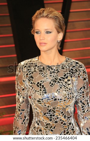 LOS ANGELES - MAR 2:  Jennifer Lawrence at the 2014 Vanity Fair Oscar Party at the Sunset Boulevard on March 2, 2014 in West Hollywood, CA - stock photo