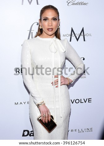 LOS ANGELES - MAR 20:  Jennifer Lopez arrives to the 2nd Annual Fashion Los Angeles Awards  on March 20, 2016 in Hollywood, CA.                 - stock photo