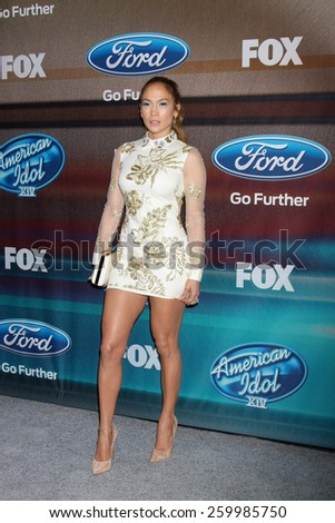 "LOS ANGELES - MAR 11:  Jennifer Lopez at the ""American Idol Season 14"" Finalist Party at the The District Resturant on March 11, 2015 in Los Angeles, CA - stock photo"