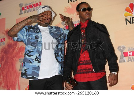 LOS ANGELES - MAR 29:  Jeremih, YG at the 2015 iHeartRadio Music Awards Press Room at the Shrine Auditorium on March 29, 2015 in Los Angeles, CA - stock photo