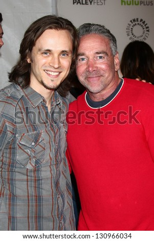 "LOS ANGELES - MAR 9:  Jonathan Jackson, Michael Fairman arrives at the  ""Nashville"" PaleyFEST Event at the Saban Theater on March 9, 2013 in Los Angeles, CA - stock photo"