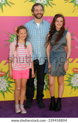 LOS ANGELES - MAR 23 - Judd Apatow and daughters arrives at the Nickelodeons 2013 Kids Choice Awards on March 23,  2013 in Los Angeles, CA              - stock photo