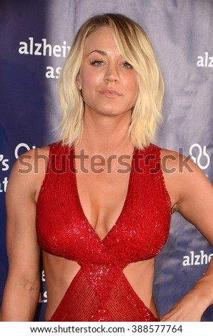 LOS ANGELES - MAR 9:  Kaley Cuoco at the A Night at Sardis - 2016 Alzheimer's Association Event at the Beverly Hilton Hotel on March 9, 2016 in Beverly Hills, CA - stock photo