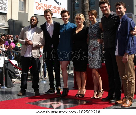 LOS ANGELES - MAR 17:  Kate Winslet, Shailene Woodley, Divergent Cast at the Kate Winslete Hollywood Walk of Fame Star Ceremony at W Hotel on March 17, 2014 in Los Angeles, CA - stock photo