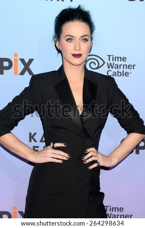 "LOS ANGELES - MAR 26:  Katy Perry at the ""Katy Perry: The Prismatic World Tour"" Premiere Screening at the The Theatre at Ace Hotel on March 26, 2015 in Los Angeles, CA - stock photo"