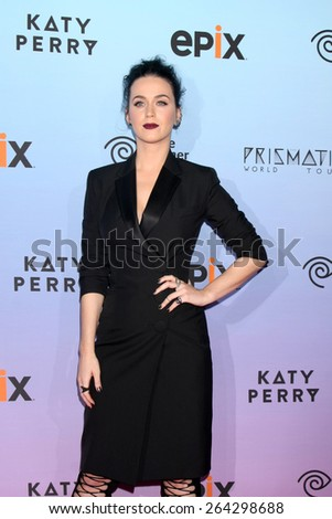 "LOS ANGELES - MAR 26:  Katy Perry at the ""Katy Perry: The Prismatic World Tour"" Premiere Screening at the The Theatre at Ace Hotel on March 26, 2015 in Los Angeles, CA"
