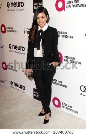 LOS ANGELES - MAR 3:  Kourtney Kardashian at the Elton John AIDS Foundation's Oscar Viewing Party at the West Hollywood Park on March 3, 2014 in West Hollywood, CA - stock photo