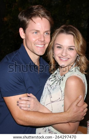 LOS ANGELES - MAR 26:  Lachlan Buchanan, Hunter King at the Young & Restless 42nd Anniversary Celebration at the CBS Television City on March 26, 2015 in Los Angeles, CA - stock photo