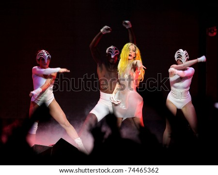 LOS ANGELES - MAR 28:  Lady Gaga Performs at Staples Center  on March 28, 2011 in Hollywood, CA - stock photo