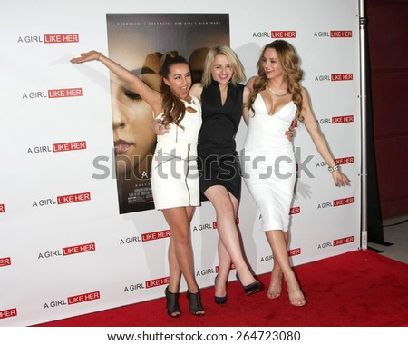 """LOS ANGELES - MAR 27:  Lexi Ainsworth, Joey King, Hunter King at the """"A Girl Like Her"""" Screening at the ArcLight Hollywood Theaters on March 27, 2015 in Los Angeles, CA - stock photo"""