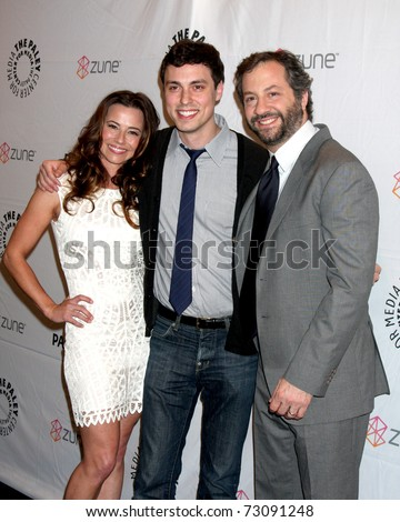 "LOS ANGELES - MAR 12:  Linda Cardellini, John Francis Daley and Judd Apatow arrive at the ""Freaks & Geeks, Undeclared"" PaleyFest 2011 at Saban Theatre on March 12, 2011 in Beverly Hills, CA - stock photo"