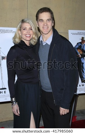 LOS ANGELES - MAR 22:  Luc Robitaille, Stacey Toten at the I Saw the Light LA Premiere at the Egyptian Theatre on March 22, 2016 in Los Angeles, CA - stock photo