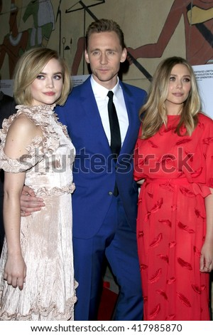 LOS ANGELES - MAR 22:  Maddie Hasson, Tom Hiddleston, Elisabeth Olsen at the I Saw the Light LA Premiere at the Egyptian Theatre on March 22, 2016 in Los Angeles, CA - stock photo