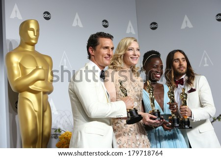 LOS ANGELES - MAR 2:  Matthew McConaughey, Cate Blanchett, Lupita Nyong'o, Jared Leto at the 86th Academy Awards at Dolby Theater, Hollywood & Highland on March 2, 2014 in Los Angeles, CA - stock photo
