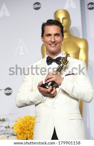 LOS ANGELES - MAR 2:: Matthew McConaughey  in the press room at the 86th Annual Academy Awards on March 2, 2014 in Los Angeles, California - stock photo
