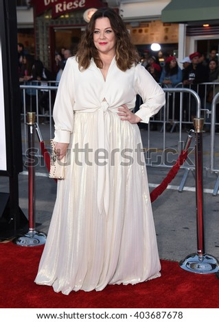 "LOS ANGELES - MAR 28:  Melissa McCarthy arrives to the ""The Boss"" World Premiere  on March 28, 2016 in Hollywood, CA.                 - stock photo"
