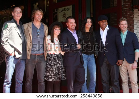 LOS ANGELES - MAR 5:  NCIS LA Cast  at the Chris O'Donnell Hollywood Walk of Fame Star Ceremony at the Hollywood Blvd on March 5, 2015 in Los Angeles, CA - stock photo