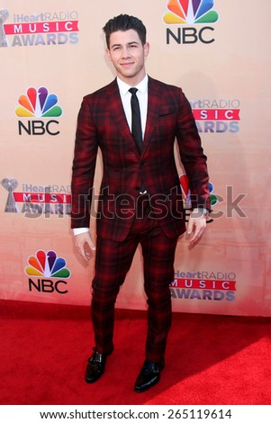LOS ANGELES - MAR 29:  Nick Jonas at the 2015 iHeartRadio Music Awards  at the Shrine Auditorium on March 29, 2015 in Los Angeles, CA - stock photo