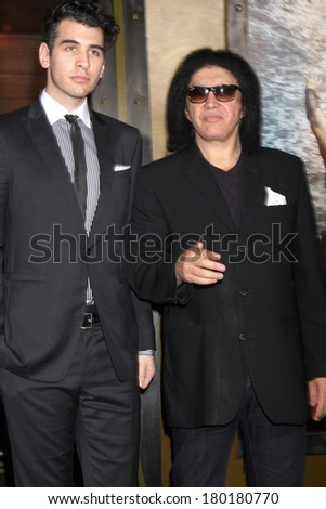 "LOS ANGELES - MAR 4:  Nick Simmons, Gene Simmons at the ""300: Rise Of An Empire"" Premiere at TCL Chinese Theater on March 4, 2014 in Los Angeles, CA"