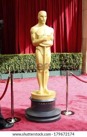 LOS ANGELES - MAR 2:  Oscar Statue at the 86th Academy Awards at Dolby Theater, Hollywood & Highland on March 2, 2014 in Los Angeles, CA - stock photo