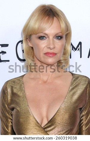 "LOS ANGELES - MAR 12:  Pamela Anderson at the ""The Gunman"" Premiere at the Regal 14 Theaters on March 12, 2015 in Los Angeles, CA - stock photo"