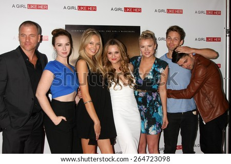 """LOS ANGELES - MAR 27:  S Carrigan, Camryn Grimes, M Ordway, Hunter King, Kelli Goss, L Buchanan, Robert Adamson at the """"A Girl Like Her"""" Screening at the ArcLight on March 27, 2015 in Los Angeles, CA - stock photo"""