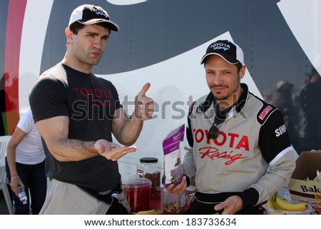 LOS ANGELES - MAR 15:  Sam Witwer, Nick Wechsler at the Toyota Grand Prix of Long Beach Pro-Celebrity Race Training at Willow Springs International Speedway on March 15, 2014 in Rosamond, CA - stock photo