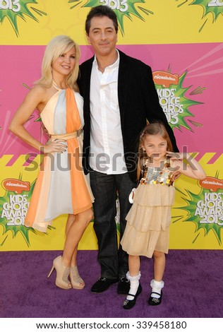 LOS ANGELES - MAR 23 - Scott Baio and family arrives at the Nickelodeons 2013 Kids Choice Awards on March 23,  2013 in Los Angeles, CA              - stock photo