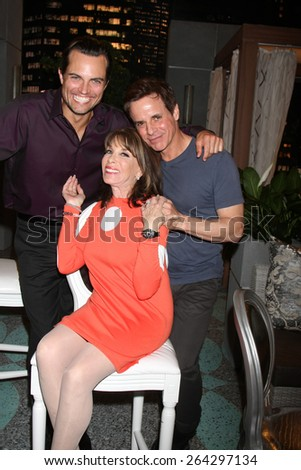 LOS ANGELES - MAR 26:  Scott Elrod, Kate Linder, Christian LeBlanc at the Young & Restless 42nd Anniversary Celebration at the CBS Television City on March 26, 2015 in Los Angeles, CA - stock photo