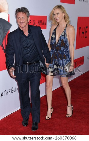 "LOS ANGELES - MAR 12:  Sean Penn, Charlize Theron at the ""The Gunman"" Premiere at the Regal 14 Theaters on March 12, 2015 in Los Angeles, CA - stock photo"