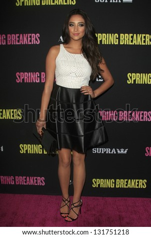 "LOS ANGELES - MAR 14:  Shay Mitchell arrives at the 'Spring Breakers"" Premiere at the Arclight, Hollywood on March 14, 2013 in Los Angeles, CA - stock photo"