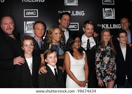 """LOS ANGELES - MAR 26:  The Killing Cast arrives at  the AMC's """"The Killing"""" Season 2 Premiere at the ArcLight Theaters on March 26, 2012 in Los Angeles, CA - stock photo"""