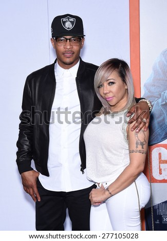 "LOS ANGELES - MAR 25:  Tip ""TI"" Harris & Tameka Cottle arrives to the ""Get Hard"" Los Angeles Premiere  on March 25, 2015 in Hollywood, CA                 - stock photo"