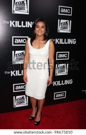 """LOS ANGELES - MAR 26:  Veena Sud arrives at  the AMC's """"The Killing"""" Season 2 Premiere at the ArcLight Theaters on March 26, 2012 in Los Angeles, CA - stock photo"""