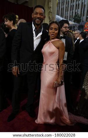 LOS ANGELES - MAR 2:: Will Smith, Jada Pinkett Smith  at the 86th Annual Academy Awards at Hollywood & Highland Center on March 2, 2014 in Los Angeles, California - stock photo