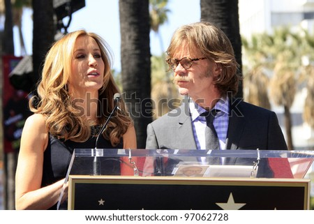 LOS ANGELES - MAR 7:  William H. Macy; Felicity Huffman at the Ceremony honoring them with their Hollywood Walk Of Fame Stars at 7060 Hollywood Blvd. on March 7, 2012 in Los Angeles, CA