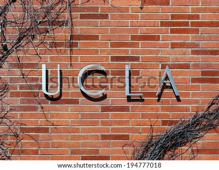 LOS ANGELES - MARCH 17: An entrance to The University of California, Los Angeles located in Westwood, Los Angeles, California on March 17, 2014. UCLA is a public research university founded in 1919. - stock photo
